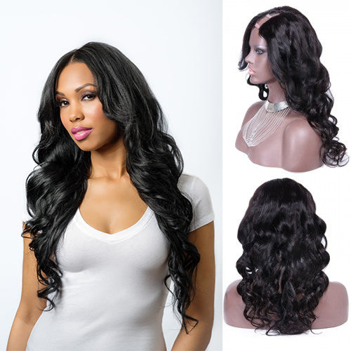 24 Inch #1B Body Wavy Indian Remy Hair U part Wigs PWU23