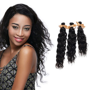 "【Platinum 8A】	10""-30"" 3 Bundles Natural Wavy Virgin Brazilian Hair Natural Black 300g"