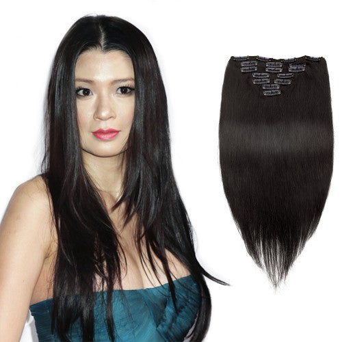 [Volumizer] 70g 16 Inch #1B Natural Black Straight Clip In Hair