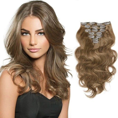 [Volumizer] 70g 16 Inch #8 Light Brown Body Wavy Clip In Hair