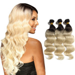 3pcs/lot Ombre Hair Extensions Two Tone #1B/613 Body Wavy Indian Remy Human Hair 300g