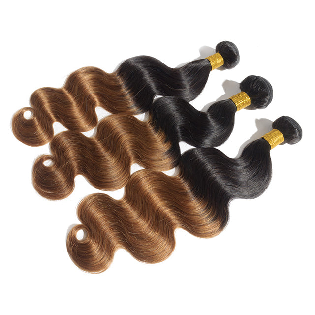 Top Quality Cheap Hair 3pcs/lot Ombre Hair Weave With Two Tone Colors #1B/30 Body Wavy Hair 300g