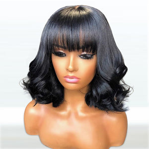 [NEW IN]Body Wavy Brazilian Human Hair Full Cap Wig With Bang