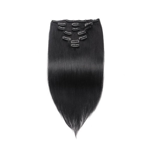 【Regular】	100g 18 Inch #1 Jet Black Straight Clip In Hair