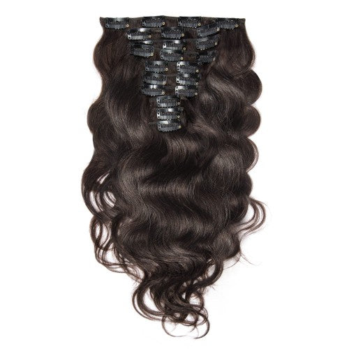 【Super Deluxe】	200g 22 Inch #2 Darkest Brown Body Wavy Clip In Hair
