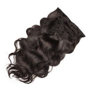 [Deluxe] 160g 20 Inch #2 Darkest Brown Body Wavy Clip In Hair