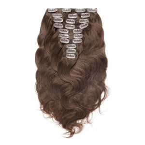 【Super Deluxe】	200g 22 Inch #4 Chocolate Brown Body Wavy Clip In Hair