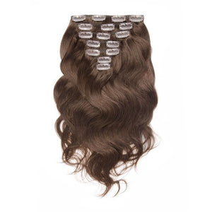 【Regular】	100g 18 Inch #4 Chocolate Brown Body Wavy Clip In Hair