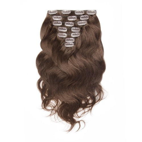 [Regular] 100g 18 Inch #4 Chocolate Brown Body Wavy Clip In Hair