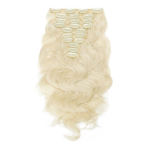 【Super Deluxe】	200g 22 Inch #60 Platium Blonde Body Wavy Clip In Hair