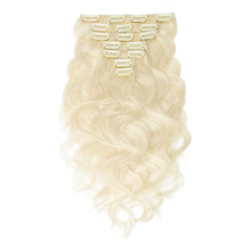 [Regular] 100g 18 Inch #60 Platium Blonde Body Wavy Clip In Hair