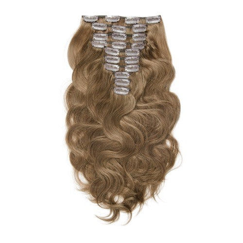【Super Deluxe】	200g 22 Inch #8 Light Brown Body Wavy Clip In Hair