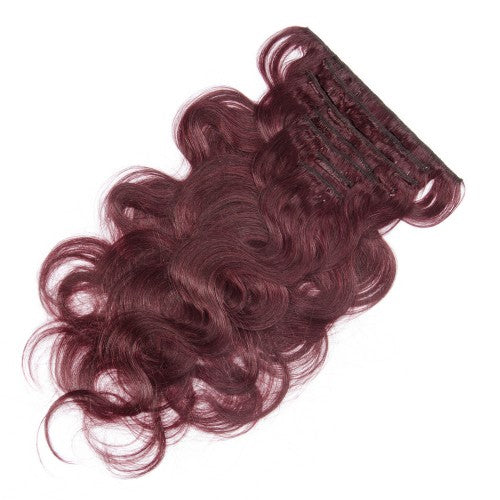 【Regular】	120g 18 Inch #99J Body Wavy Clip In Hair