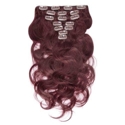 [Regular] 100g 18 Inch #99J Body Wavy Clip In Hair