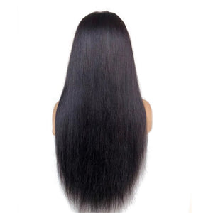 Pre-made Capless Lace Front Human Hair Black Wig