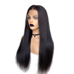 Pre-Plucked & Pre-bleached Human Hair Fake Scalp Lace Front Wig