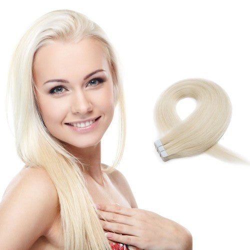 20pcs 50g Straight Tape In Hair Extensions #60 Platium Blonde
