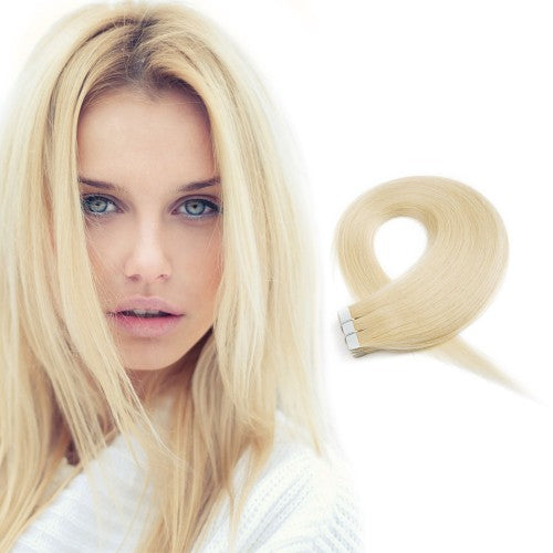 20pcs 50g Straight Tape In Hair Extensions #613 Lightest Blonde