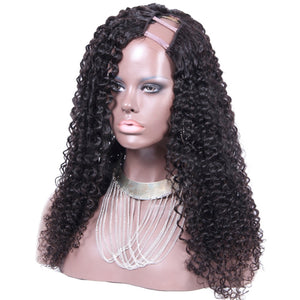 26 Inch #1B Kinky Curly Indian Remy Hair U part Wigs PWU10