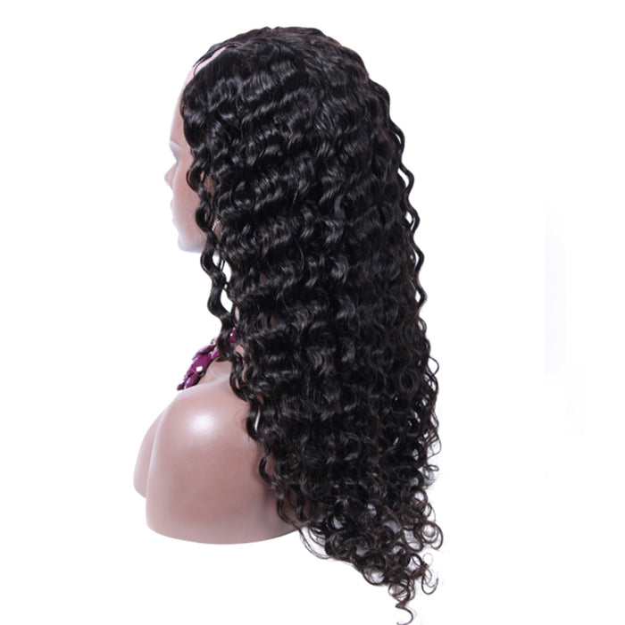 30 Inch #1B Loose Wavy Indian Remy Hair U part Wigs PWU12