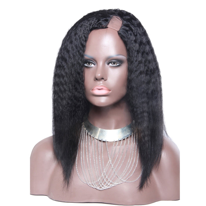 12 Inch #1B Yaki Indian Remy Hair U part Wigs PWU16