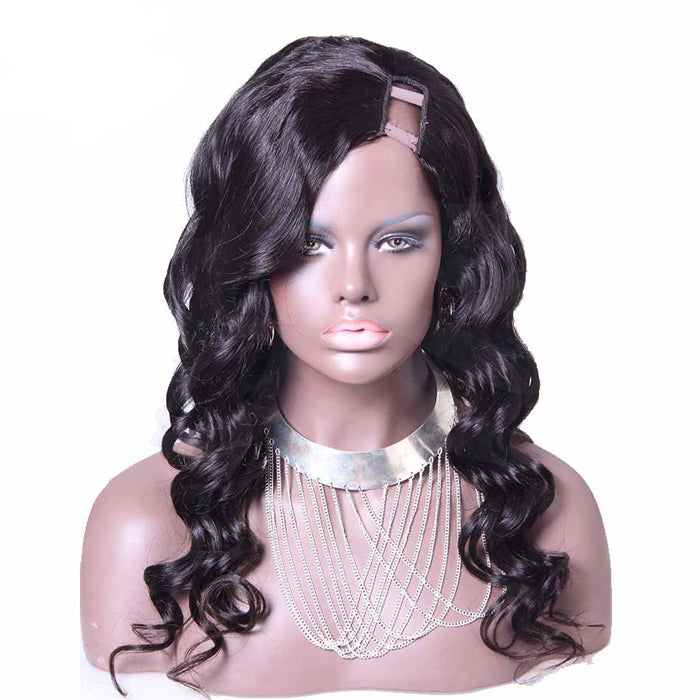 22 Inch #1B Body Wavy Indian Remy Hair U part Wigs PWU01