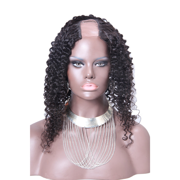 16 Inch #1B Kinky Curly Indian Remy Hair U part Wigs PWU20