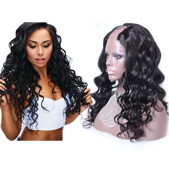 22 Inch #1B Body Wavy Indian Remy Hair U part Wigs PWU21