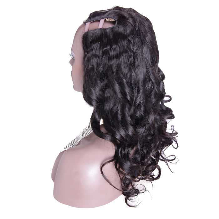 26 Inch #1B Body Wavy Indian Remy Hair U part Wigs PWU24