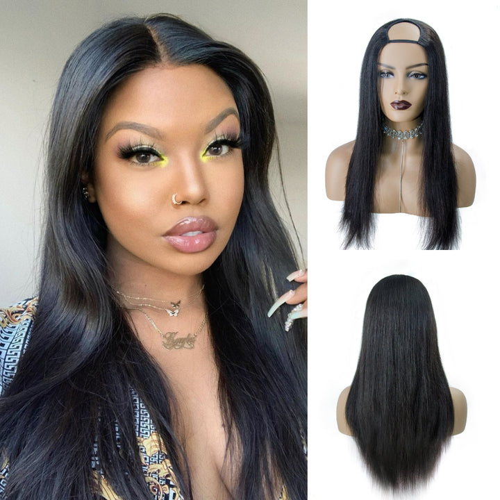 [IN STOCK]Full Density Affordable #1B Straight Remy Hair U Part Wig