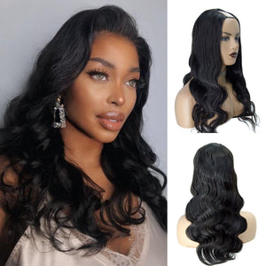 【IN STOCK】Full Density Affordable #1B Body Wavy Remy Hair U Part Wig