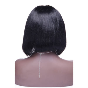 12 Inch #1B Straight Short Bob Indian Remy Hair U part Wigs PWU04