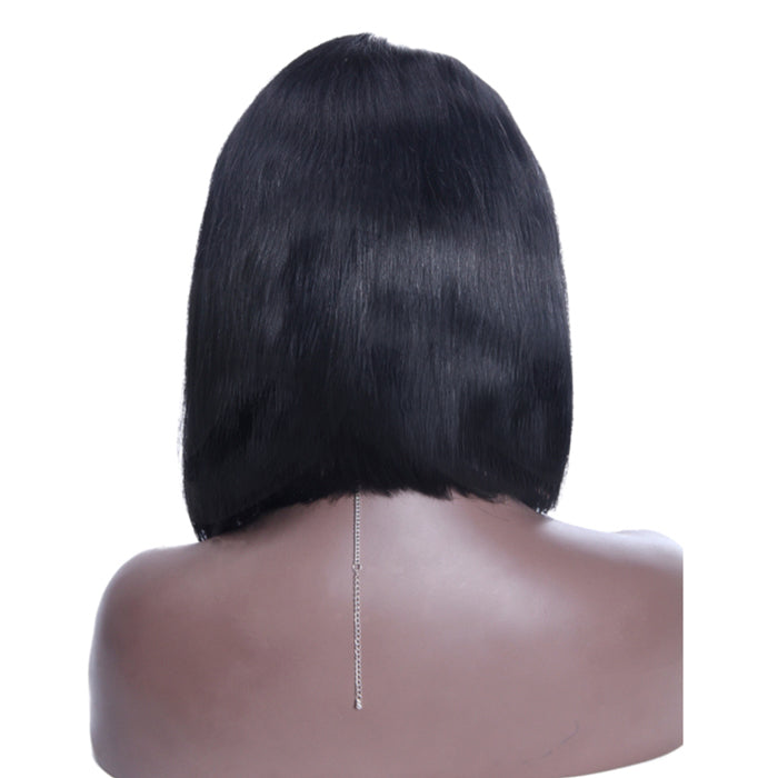 14 Inch #1B Straight Short Bob Indian Remy Hair U part Wigs PWU06