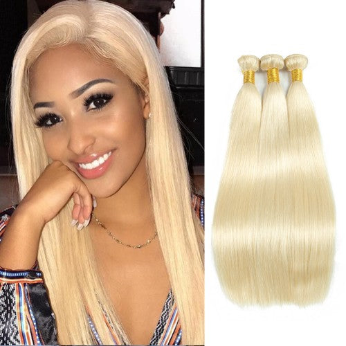 "【Platinum 8A】	14""-26"" 3 Bundles Straight #613 blonde Virgin Brazilian Hair 300g"