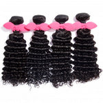 "【Platinum 8A】10""-30"" 4 Bundles Deep Curly Virgin Brazilian Hair Natural Black 400g"