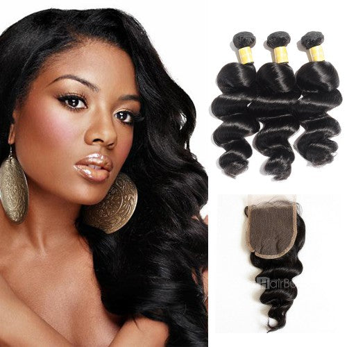 【Platinum 8A】Virgin Loose Wavy Indian Hair 3 Bundles with 4x4 Lace Closure