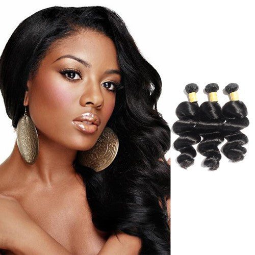 【Platinum 8A】	Virgin Indian Loose Wavy Hair 3 Bundles