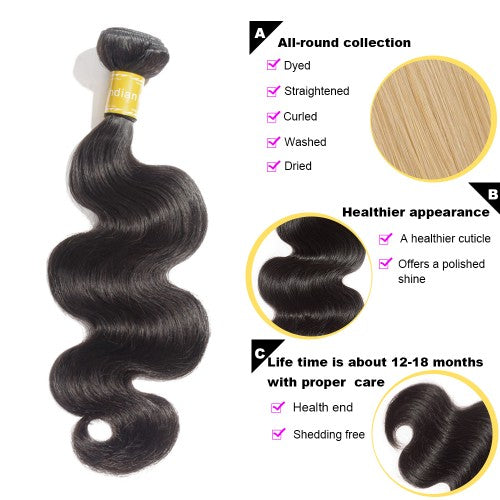 【Platinum 8A】Virgin Body Wavy Indian Hair 3 Bundles with 4x4 Lace Closure