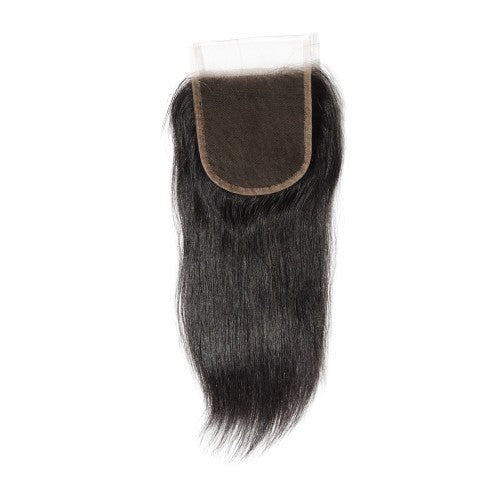 【Platinum 8A】Virgin Straight Indian Hair 3 Bundles with 4x4 Lace Closure