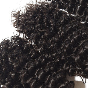 【Platinum 8A】Virgin Deep Curly Indian Hair 3 Bundles with 4x4 Lace Closure