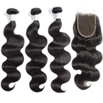 【Diamond 10A】	3 Bundles Body Wavy Diamond Virgin Hair 300g With 4*4 Body Wavy Free Part Lace Closure