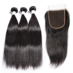 【Diamond 10A】	3 Bundles Straight Diamond Virgin Hair 300g With 4*4 Straight Free Part Lace Closure