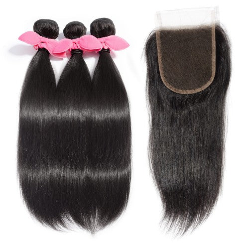 【Platinum 8A】3 Bundles Straight Brazilian Virgin Hair 300g With 4*4 Straight Free Part Lace Closure