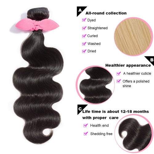 【Platinum 8A】3 Bundles Body Wavy Brazilian Virgin Hair 300g With 13*4 Body Wavy Free Part Lace Frontal