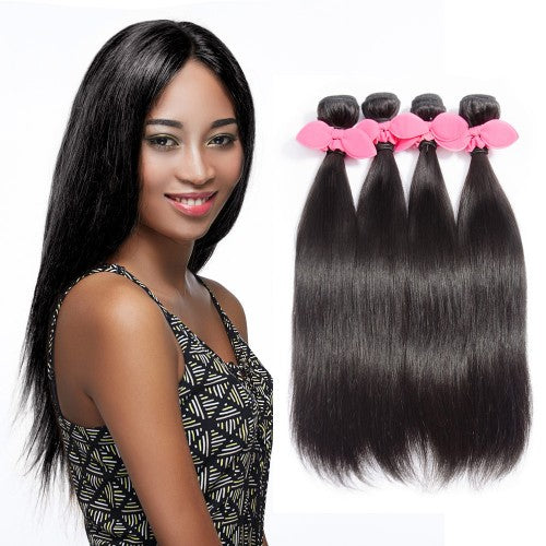 "【Platinum 8A】10""-30"" 4 Bundles Straight Virgin Brazilian Hair Natural Black 400g"