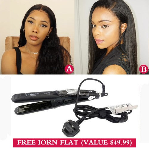 "Virgin Hair Transparents Lace Wigs 2-IN-1 (A)18""+(B)16"" With Free Gift"