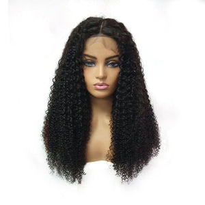 Pre-Plucked Deep Curly Brazilian Virgin Hair Deep Part 13x6 Lace Front Wigs