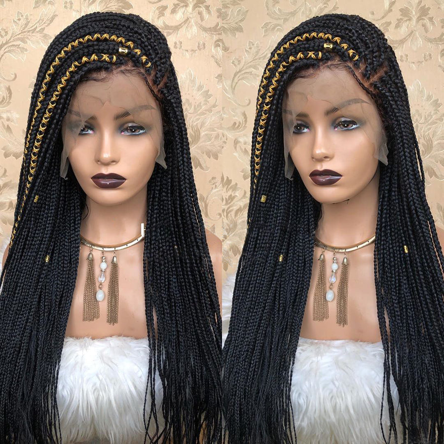 [NEW IN]100% Hand Made Side Part Braided Lace Frontal Synthetic Wig