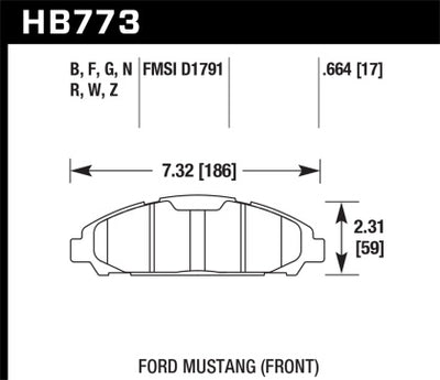 HAWK PERFORMANCE 15-17 MUSTANG DTC-60 FRONT BRAKE PADS