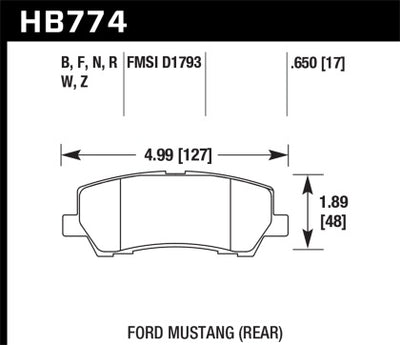 HAWK PERFORMANCE 15-17 MUSTANG PERFORMANCE CERAMIC REAR BRAKE PADS